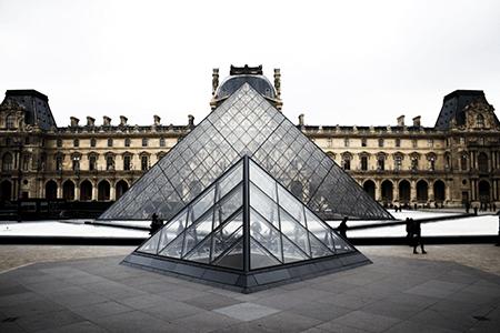 Paris Louvre Museum pyramids